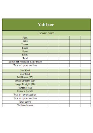 Sample Yahtzee Score Card