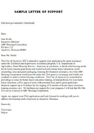 Sample letter of Support Example