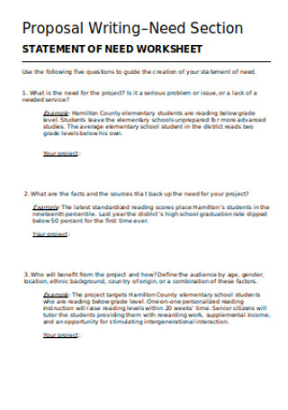 Sample of Statement of Need Worksheet