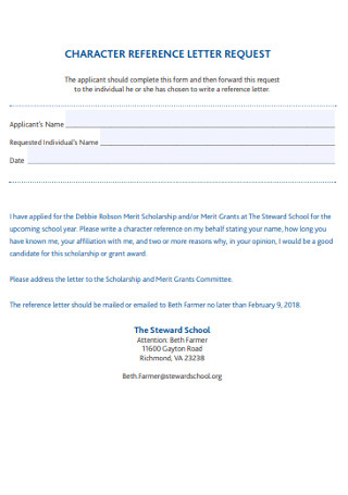 School Chracter Reference Letter