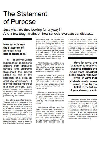 Schools Statement of Purpose Template