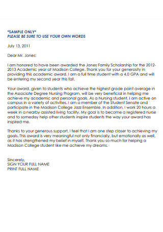 Scolorship Recipient Thank You Letter