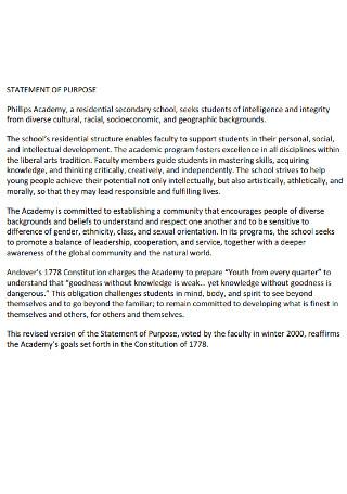 Secondary School Statement of purpose Template