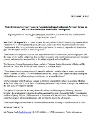 Secretary General Press Release