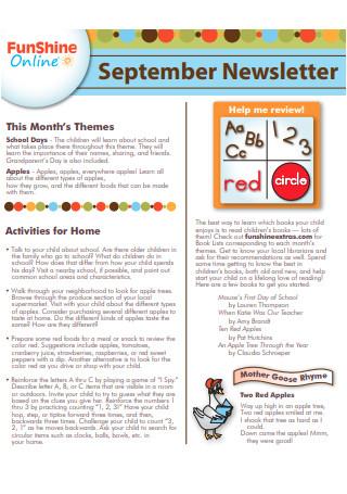 September Preschool Newsletter Sample