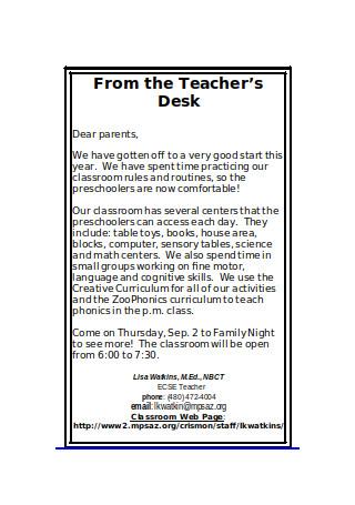 September Preschool Newsletter