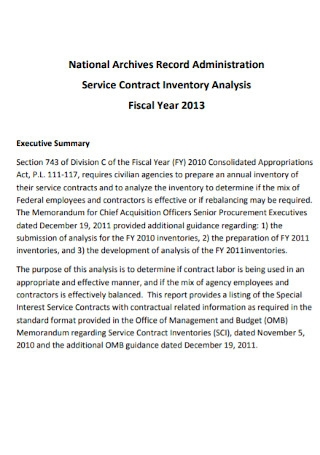 Service Contract Inventory Analysis Template