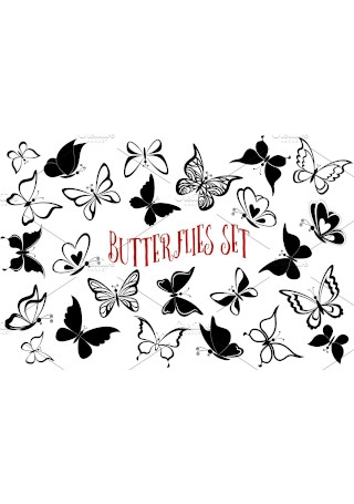 Set Butterflies Contour Pictograms