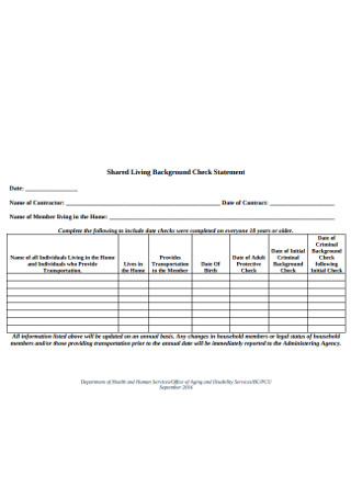 Shared Living Background Check Statement