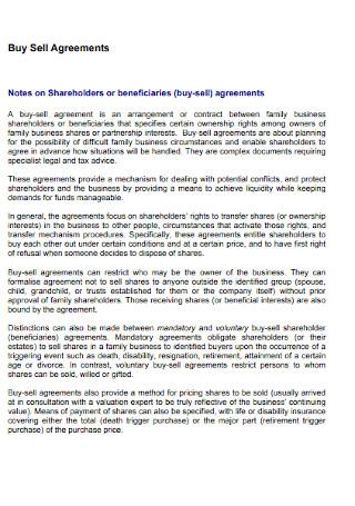 Shareholders Buy Sell Agreements