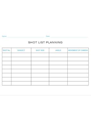 Short List Planing Template