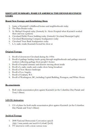 Short List Story Template
