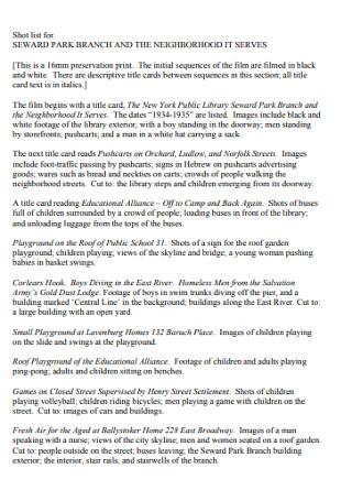 Shot List for Seward park Branch Template