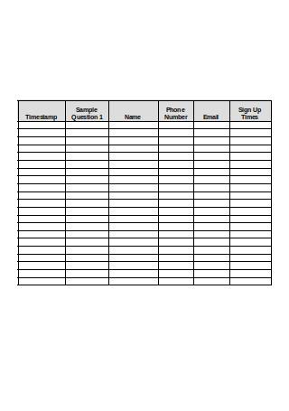 Sign Up Sheet Sample