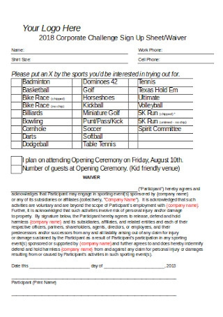 Sign up Sheet and Waiver