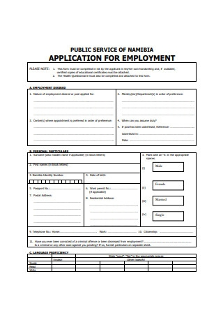 Simple Application Form for Employment