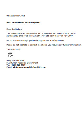 Simple Confirmation of Employment Letter