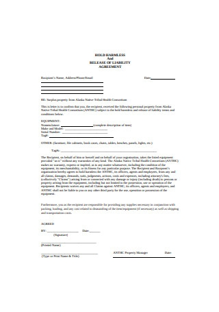 Simple Hold Harmless Agreement Format