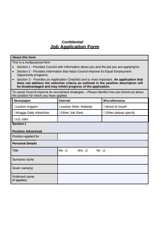 Simple Job Application Form