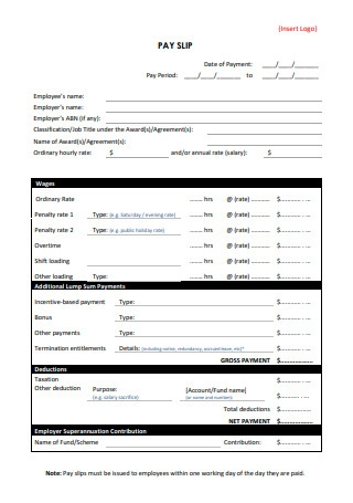 Simple Pay Slip Template