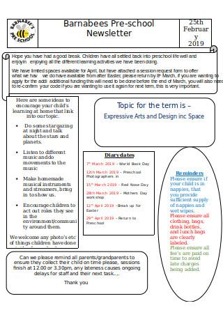Simple Preschool Newsletter