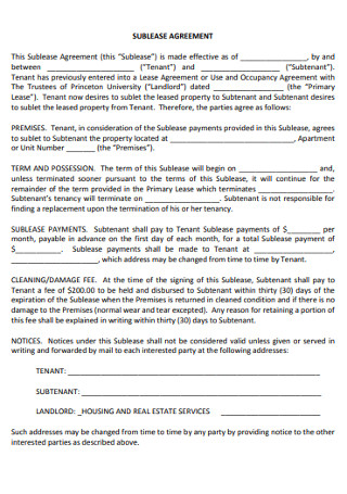 Simple Sublease Agreements