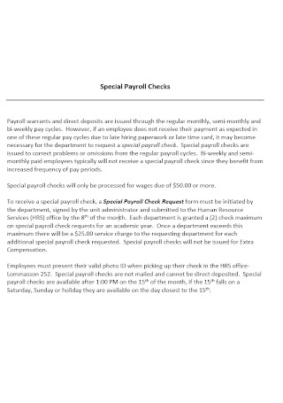 Special Payroll Check Format