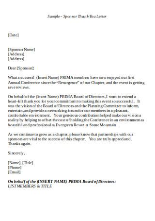 Sponsor Thank You Letter