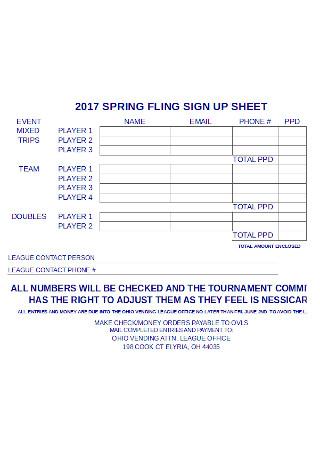 Spring Fling Sign up Sheet