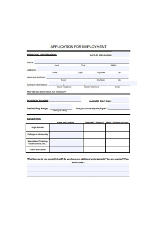 Standard Application for Employment Form