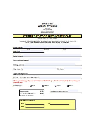 Standard Birth Certificate Format