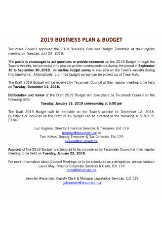 Standard Business Budget