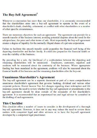 Standard Buy Sell Agreement