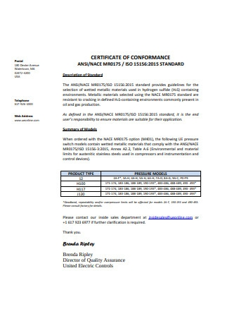 Standard Certificate of Conformance Example