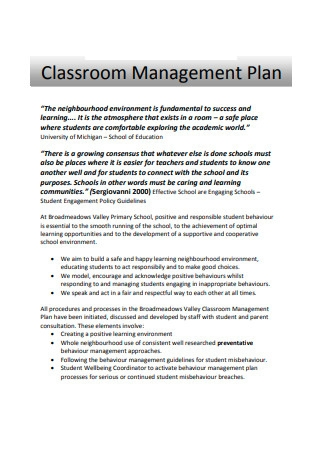 Standard Classroom Management Plan