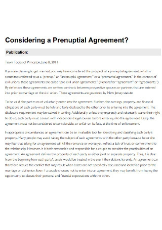 Standard Considering a Prenuptial Agreement