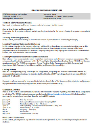 Standard Course Syllabus Template