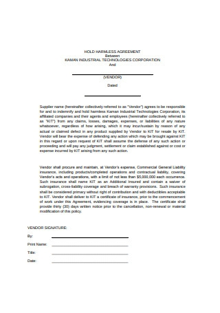 Standard Hold Harmless Agreement Format