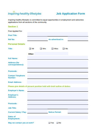 Standard Job Application Form Sample