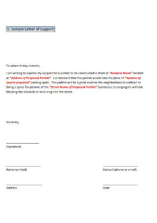 Standard Letter of Support