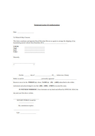Standard Notarized Letter of Authorization