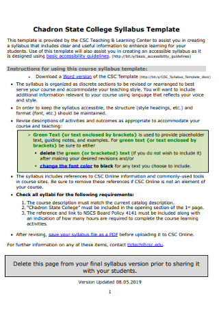 State College Syllabus Template