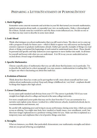 Statement of Intent purpose Template