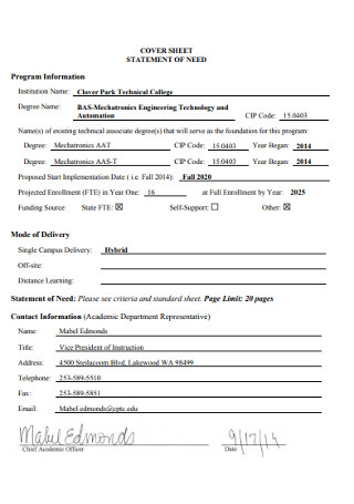 Statement of Need Cover Sheet