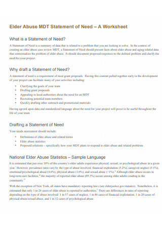 Statement of Need Worksheet