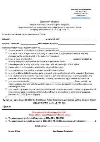 Statement of Need for Motor Vehicle