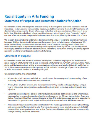Statement of Purpose and Recommendations for Action