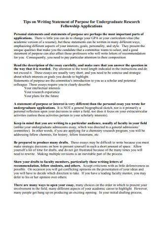 Statement of Purpose for Undergraduate