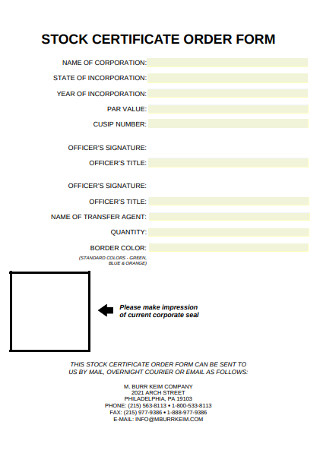 Stock Certificate Order Form