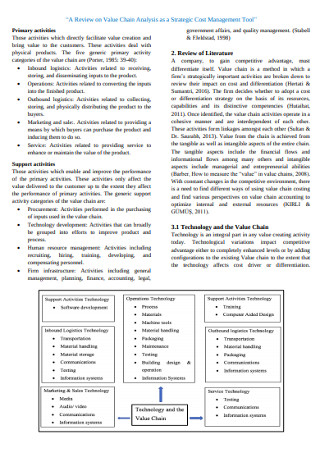 Strategic Cost Value Management Chain Analysis Template